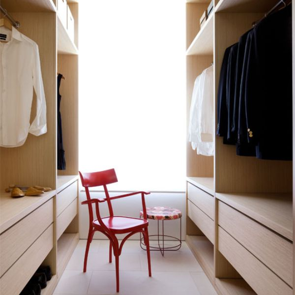 Apartment Closet Ideas Wooden Closet Red Chair Cream Floor Wooden Drawers