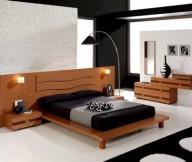 Arch lamp Wood headboard Low profile bed Stratified sideboard