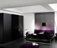 Artistic wall decoration Black arch lamp Modern low profile bed Black wardrobe