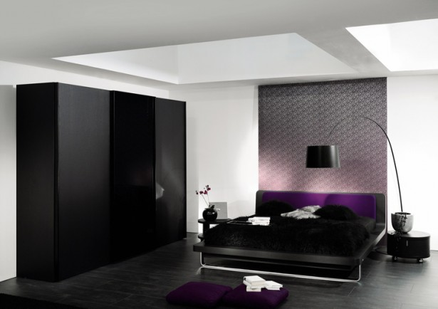 Artistic wall decoration Black arch lamp Modern low profile bed Black wardrobe