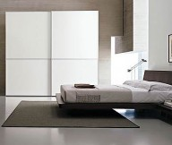 Artistic-wall-decoration-Low-profile-bed-White-wardrobe-Dark-brown-drawer