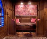 Artistic wall mural Pool house Cute pink sofa cushions