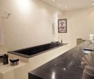 Artistic-wall-mural-Stylish-bath-set-Dark-bath-tub-Stainless-steel-towel-rail