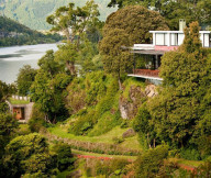 Awesome Iconic Antumalal Hotel white wall big trees Hotel In Chile