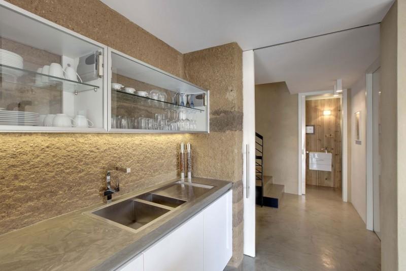 Backsplash kitchen light Glossy kitchen island Contemporary wooden house