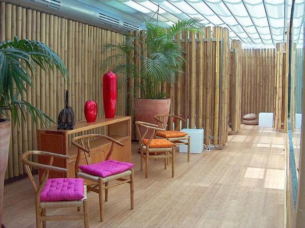 Bamboo Wall Panels Original Bamboo Wooden Chairs Wooden Shelves Wooden Floor