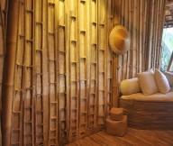Bamboo Wall Panels White Cushions Wooden Floor Original Bamboo