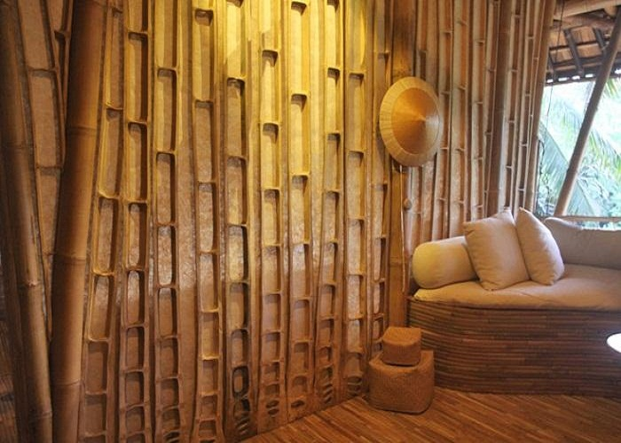 Bamboo Wall Panels White Cushions Wooden Floor Original Bamboo