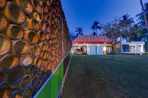 Bamboo wall design Villa Sapi  Green courtyard Leafy tree Round shaped building
