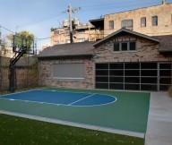 Basketball Court Green Lawn Brick Wall Large Garage