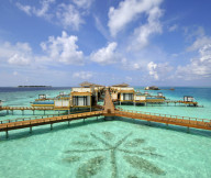 Beach resort Long deck Pure ocean water Precious blue sky