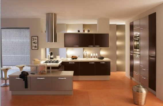 Beautiful French Kitchens brilliant-lighting-brown cabinet design