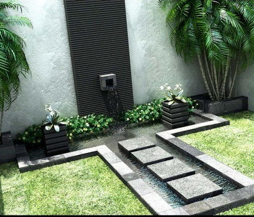 Beautiful stone tribal fountain designs courtyard design for Courtyard stone landscape