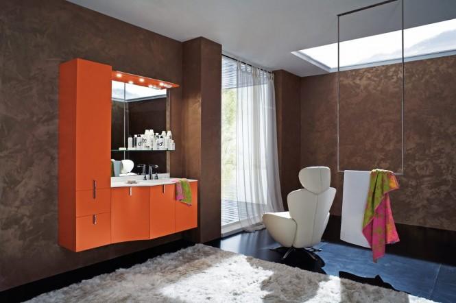 Beautiful chair orange cabinet Modern Bathrooms Design