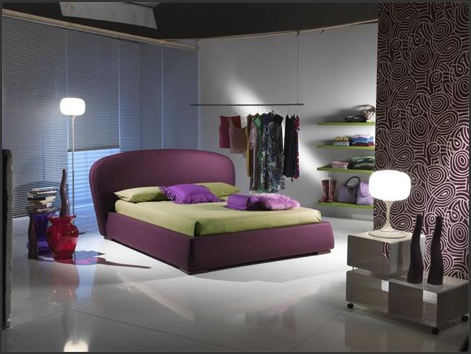 Bedroom Ideas for Young Women Blue Blinds Purple Bed Frame White Floor Ornamented Wallpaper