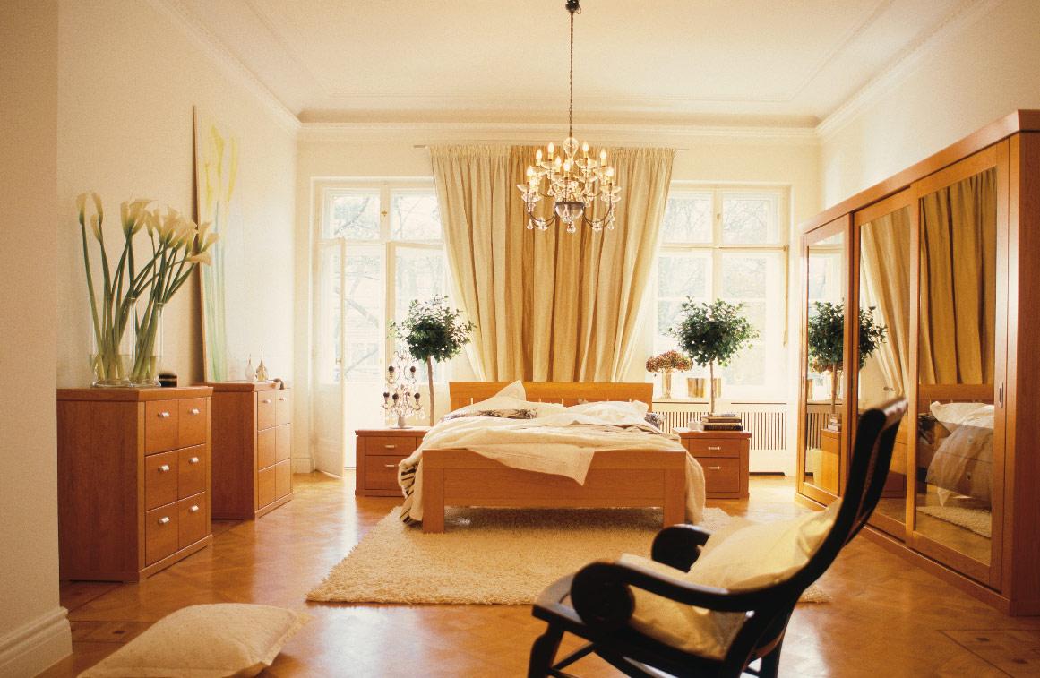 Bedroom Ideas for Young Women Brown Wooden Bed Frame White Rug Three Mirror Door Cupboard
