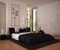 Bedroom Ideas for Young Women Contemporary Design Black Rug Black Quilt Wooden Floor