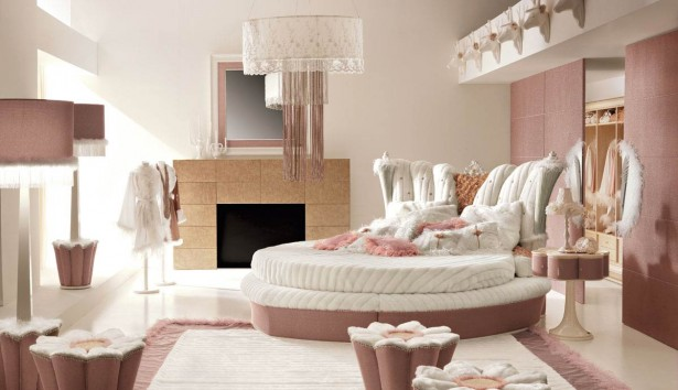 Bedroom Ideas for Young Women Flower Pink Poufs White Cloth Shades Pink Standing Lamps