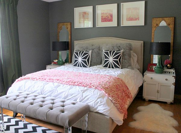 Bedroom ideas for young women grey bed grey bed bench for Womens small bedroom ideas