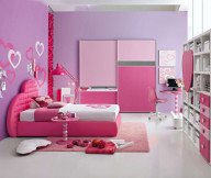 Bedroom Ideas for Young Women Pink Bed Frame Purple Wall Pink Rug White Cabinet
