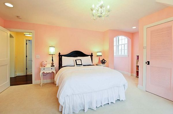Bedroom Ideas for Young Women Pink Wall Black Bed Frame Pink Closet