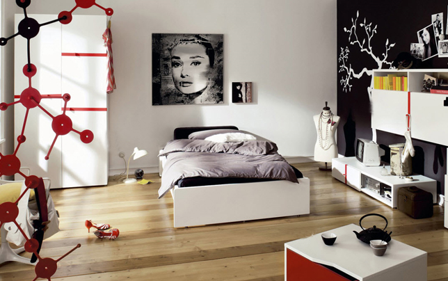 Bedroom Ideas for Young Women White Bed Frame White Cupboard Wooden Floor White Television Cabinet