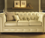 Beige Color Leather Sofa Vintage Look Wooden FLoor