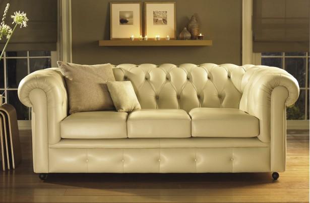 Beige Color Leather Sofa Vintage Look Wooden FLoor
