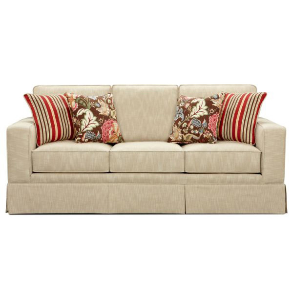 Beige Color Sofa Stripes Cushions Floery Motive Cushions Three Seats