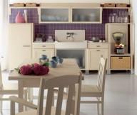 Beige Counters Beige Dining Set Brown Tile Backsplash White Floor