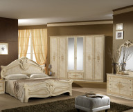 Beige FUrniture Cream Bed Frame Brown Wall Brown Rug