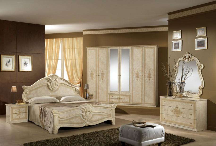 Beige FUrniture Cream Bed Frame Brown Wall Brown Rug