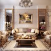Beige Luxurious Sofa Cream Wallpaper Unique Chandelier Large Mirror