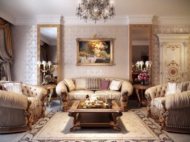 Beige Luxurious Sofa Cream Wallpaper Unique Chandelier Large Mirror
