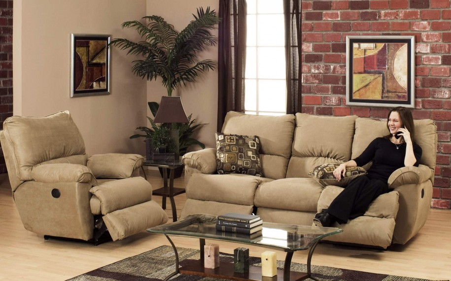 Beige Sofa Red Brick Wall Indoor Plants Glass Coffee Table