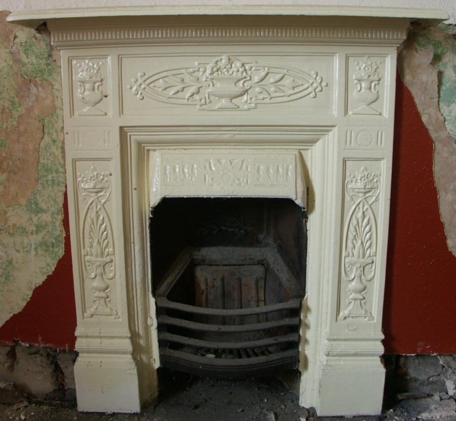 Beuatiful Engravings Cream  Fireplace Broken Wall Old Sense