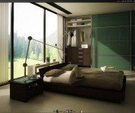 Big glass window white curtain Green Color Bedrooms