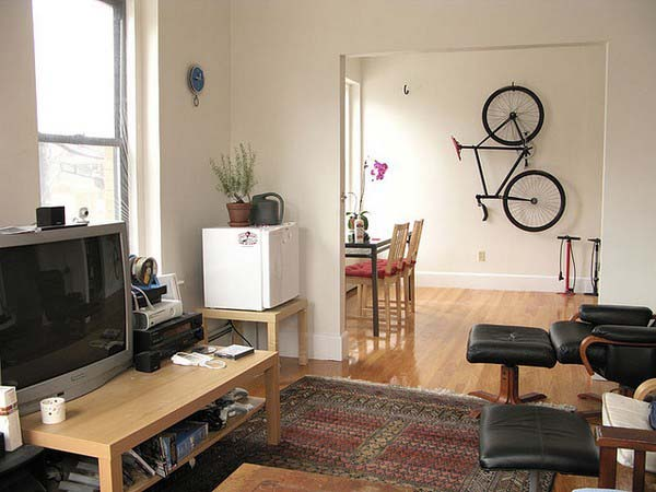 Bike Storage Ideas Bike Hanger Black Chairs Wooden Table