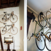 Bike Storage Ideas Black Bike Hanger White Wall White Bookshelves