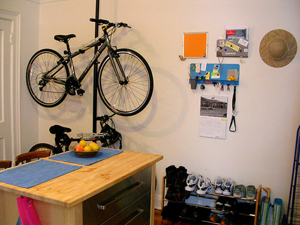 Bike Storage Ideas Black Stake Bike Hanger White Wall Wooden Kitchen ISland