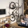 Bike Storage Ideas Grey Steel Bike Hanger Wooden Shelves