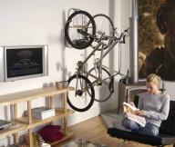 Bike Storage Ideas Grey Steel Bike Hanger Wooden Shelves