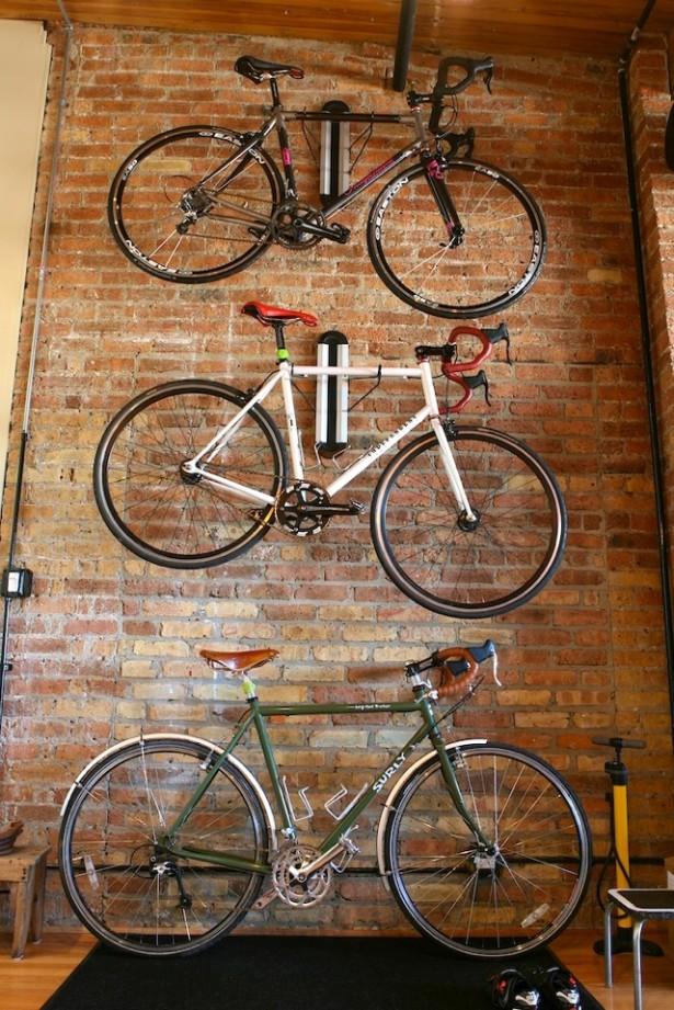 Bike Storage Ideas White Bike Hnager Brick Wall