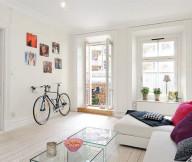 Bike Storage Ideas White Sofas White Wooden Floor Wide Windows
