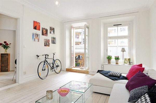 Bike Storage Ideas White Sofas White Wooden Floor Wide Windows