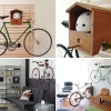 Bike Storage Ideas Wooden Bike Hanger with Helmet Keeper