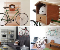Bike Storage Ideas Wooden Bike Hanger with Helmet Keeper