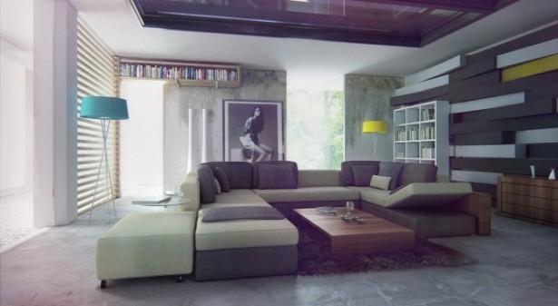 Bizkitfan sectionalsofa Bachelor Pad Ideas wooden bookshelves