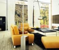 Bizkitfan yellow sofaBachelor Pad Ideas wooden floor