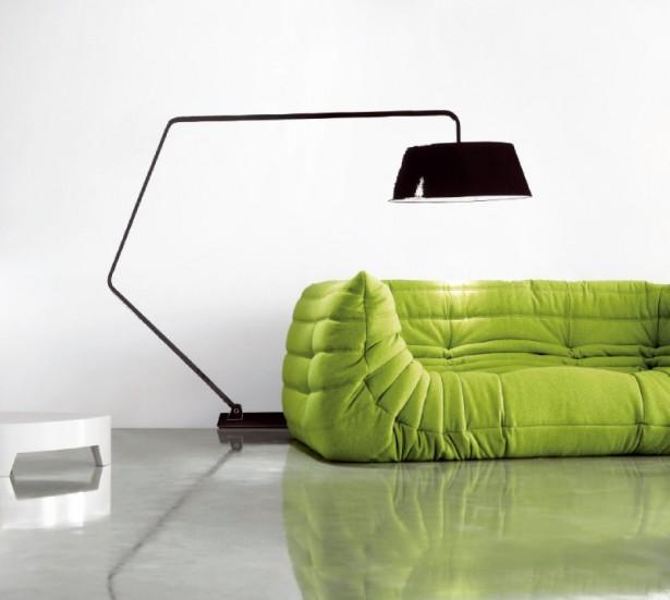 Black Arch Lamp Grey FLoor Green Sofa White Wall
